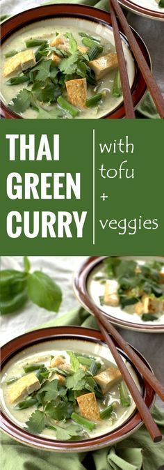 flavorful Thai vegan green curry is made with a seasoned coconut milk base, tofu, fresh veggies, and topped with fresh basil, cilantro and scallions. Tofu Recipes, Asian Recipes, Whole Food Recipes, Vegetarian Recipes, Cooking Recipes, Healthy Recipes, Cooking Kale, Cooking Pork, Snacks Recipes
