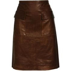3.1 Phillip Lim Washed Leather Pencil Skirt (17,215 MXN) ❤ liked on Polyvore featuring skirts, bottoms, leather, saias, women, pencil skirt, brown skirt, knee length leather skirt, brown leather skirts and brown pencil skirt