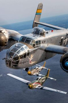 "Vintage Planes stukablr: "" North American Mitchell bomber flanked by a pair of North American Mustangs. Ww2 Aircraft, Fighter Aircraft, Military Aircraft, Fighter Jets, Aircraft Carrier, Photo Avion, Old Planes, P51 Mustang, Vintage Airplanes"