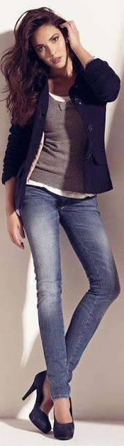 Street style   Grey crop top, black maxi skirt, handbag