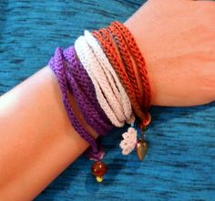 #FreeCrochetingPattern - We love this Charmed Wrap Bracelet! You can make an adorable accessory in no time - just click the image to get the free instant download of the pattern! #crocheting #pattern #bracelet