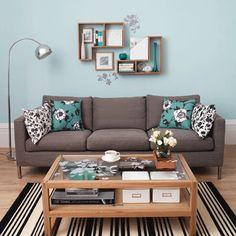Living Room, 12 Modern Inspiring Blue Living Room Decorations: Modern Minimalist BLue Living Room With Chrome Floor Light