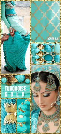 Turquoise and Gold Color Trends, Color Combinations, Color Schemes, World Of Color, Color Of Life, Pantone, Wedding Picture Walls, Vert Turquoise, Turquoise Stone