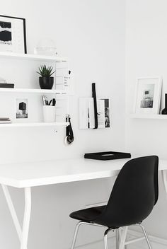 Clean work space // Sustainable, luxury, modern home design —DahanProperties.com #blackandwhite #home #design #living #clean #organized #desk #office #work
