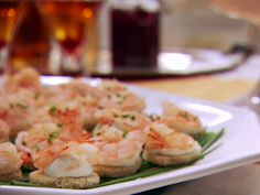 Shrimp with Horseradish Canapes Recipe : Claire Robinson : Food Network Canapes Recipes, Yummy Appetizers, Appetizer Recipes, Dinner Recipes, Shrimp Appetizers, Shrimp Dishes, Shrimp Recipes, Food Network Recipes, Food Processor Recipes