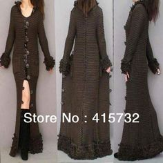 Free Shipping 2014 Fashion Long Handmade Knitted Thick Maxi Sweater Dress For Women Winter Hooded Trench Outerwear Ladies Coat