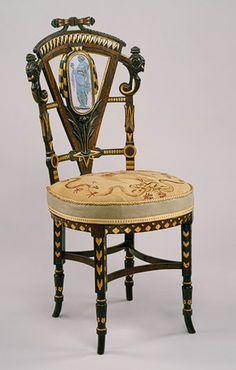 Silla lateral, ca. 1870 Atribuido a Pottier y Stymus and Company (Nueva York, activo desde 1859 hasta 1910), nogal, caoba, palo de rosa, cedro