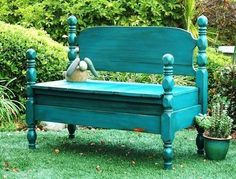 Vintage maple twin bed frame turned into a bench.