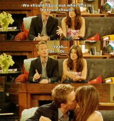 We should figure out what this is. Robin and Barney - HIMYM Best Tv Shows, Best Shows Ever, Favorite Tv Shows, Movies And Tv Shows, How I Met Your Mother, Barney Und Robin, Yellow Umbrella, Tv Couples, Himym