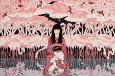 Yumiko Kayukawa grew up in the small town of Naie in Hokkaido, Japan.  Pink - girl with flamingos