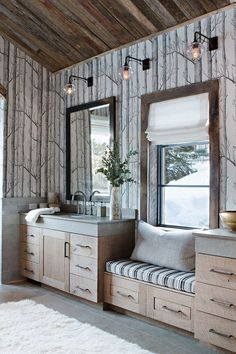 Organic materials and built-in window seat with storage underneath