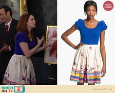 Lily's blue ruffle sleeve top and printed skirt on How I Met Your Mother.  Outfit details: http://wornontv.net/14597/