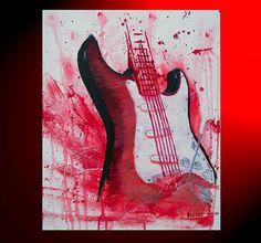 Original Guitar Painting  Oil Painting  Red by BrandtWoodsStudios, $225.00