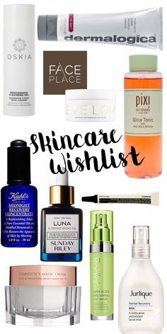 High end luxe skincare. Skincare wishlist including the following brands/products. Oskia Renassiance Cleanser, Pixie Glow Tonic, Face place London, Dermalogica face mask, Eve Lom cleanser, Kiehl's midnight recovery, Luna Sunday Riley, Rodial Acid, Julique and Charlotte Tilbury Magic Cream.