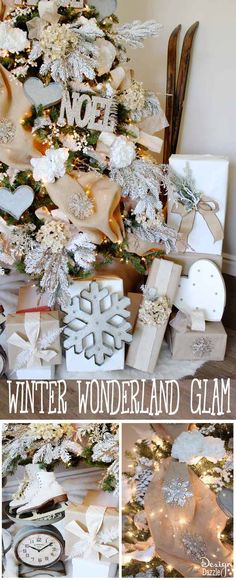 Winter Wonderland Glam Christmas Tree designed by MichaelsMakers Toni Roberts of Design Dazzle. Snow tipped branches, gold hydrangeas, white roses, lots of bling and touches of galvanized metal create this Winter Wonderland Glam Tree.