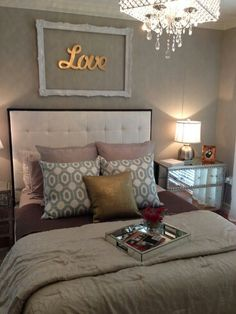 Bed Decor idea for above the bed in master bedroom. monogram and picture