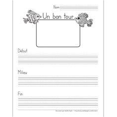 Fichier PDF téléchargeable En noir et blanc seulement 3 pages, 3 sortes de lignes Dans cet exercice, l'élève décrit un bon tour qu'il a joué en 3 étapes; début, milieu et fin. Le document contient 3 pages: une page avec trottoirs, une page avec des lignes doubles et une page avec des lignes simples selon vos besoins.