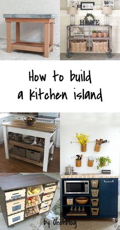 I can't believe I forgot to post this DIY kitchen island! It's a perfect weekend project if you need more storage in your kitchen. Moving Kitchen Island, Industrial Kitchen Island, Kitchen Island On Wheels, Kitchen Island With Seating, Diy Kitchen Island, Kitchen Cart, Interior Design Ikea, Woodworking Furniture Plans, Woodworking Classes