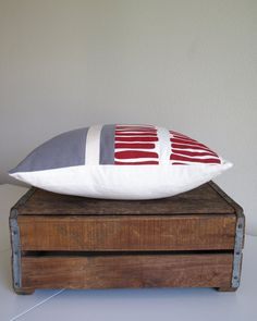 Screen Printed Eco Pillow  Raspberry Red and Gray  by ClothandINK, $38.00