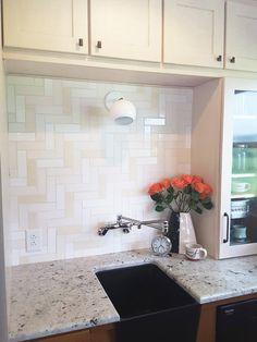 Mercury Mosaics Subway Tile in Herringbone Pattern in 301 Marshmallow, 11 Deco White, 900 Low Stone Herringbone Subway Tile, Herringbone Pattern, Kitchen Tile Inspiration, Dark Granite Countertops, Tile Projects, Handmade Tiles, Handmade Ceramic, Tile Installation, Farmhouse Style Kitchen