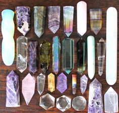 Crystal Points, Crystal Wands and other crystal healing tools Crystals Minerals, Rocks And Minerals, Crystals And Gemstones, Stones And Crystals, Crystal Magic, Crystal Grid, Crystal Healing, Environment Concept Art, Crystal Collection