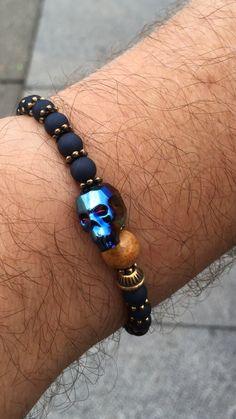 Mensbracelet Swarovski scully metalig Blue , handmade by Cosas Bonitas