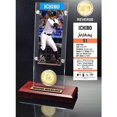 Ichiro Suzuki Miami Marlins Ticket & Bronze Coin Acrylic Desk Top - $31.99