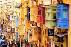 The balconies of Republica Street, Valletta, Malta.