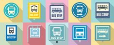 Bus stop icon set Premium Vector