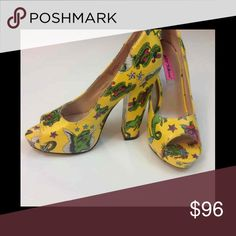 Diskko Betsey Johnson tattoo print heels Size 7.5 Special unique fun shoe by Betsey Johnson heels! They're very flattering to the foot regardless of width I'm an 8 1/2 and they're too small for me to walk in but I could squeeze, selling bc of size  They nearly brand new never walked in just tried on  Comment any questions or offers below!  Size 7.5M Betsey Johnson Shoes Heels