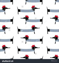 French Style Dog Seamless Pattern. Cute Cartoon Parisian Dachshund Vector Illustration. Child Drawing Style Puppy Background. French Style Dressed Dog With Red Beret…