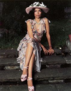 Nicaraguan fashion icon and Human Rights Advocate BIANCA JAGGER, wearing Ossie Clark outfit,  photo by Norman Eales, 1970s