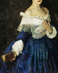 Konstantin Somov. Detail from Lady in blue. Portrait of Ye.M. Martynova, 1897.