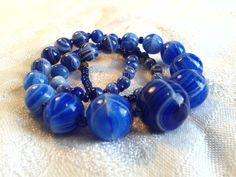 Vintage Edwardian End of Day Blue Glass Bead Necklace, Slag Glass. by GothiqueGirl on Etsy