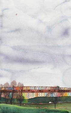 Totterdown Bristol Watercolour Painting Print // Coloured Houses, Home Decor, Landscape, Gift Idea. £10.50, via Etsy.