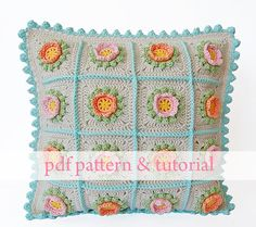 Flowery Crochet Cushion  PDF pattern & step by step por DadasPlace, $6.00