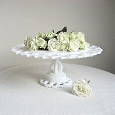 Westmoreland Milk Glass Wedding Cake Stand by BarkingSandsVintage, $92.00