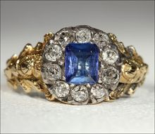 Early Victorian Sapphire and Diamond Cluster Ring, Foil Backed 18k Gold and Silver c. 1830
