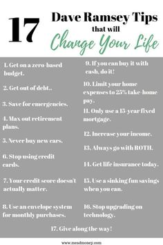 17 Dave Ramsey Tips that will Change Your Life - Finance tips, saving money, budgeting planner Budgeting Finances, Budgeting Tips, Money Tips, Money Saving Tips, Saving Ideas, Money Budget, Managing Money, Money Hacks, Excel Budget