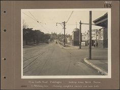 New South Head [Road] Paddington looking from Nield Avenue to Mahoney lane - Showing completed Concrete road under traffic  and entrance to the Stadium.  Flickr - Photo Sharing!