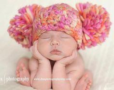 Baby girl Chunky Newborn hatPom Pom Crochet by PicklePantsPropShop, $26.00
