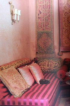 Vintage Moroccan decor. Arabic calligraphy embroideries. #Vintage #Moroccan.