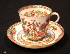 Coalport Indian Tree Antique Coffee Cup and Saucer
