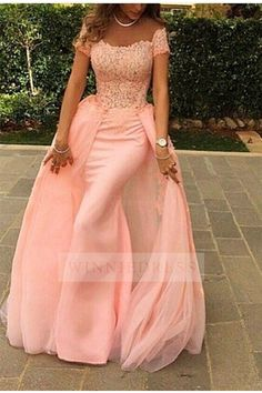 Shop discount Modern Off the Shoulder Mermaid Tulle Floor Length Pink Formal Evening Dress WNED0105