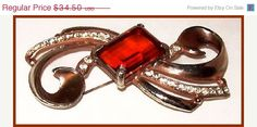 CIJ Sale Art Deco Brooch Pin Amber Topaz & by BrightgemsTreasures