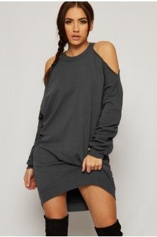 Kyga Cold Shoulder Distressed Baggy Sweater Dress-86648-20