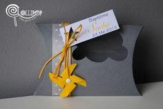 Boîte à dragées thème Nuage,grise et moulin à vent jaune : Cadeau de…