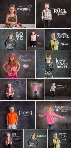 Chalkboard Expressions: Valentine Sayings - Photoshop Template Overlays and Brushes Valentine Mini Session, Valentine Picture, Valentines Day Photos, Valentine Sayings, Kids Valentines, Valentine Ideas, Valentine Cards, School Photography, Children Photography