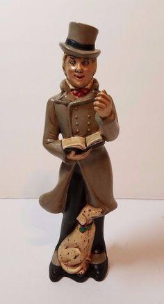 "VTG Xmas Ceramic Holland Mold Holiday Caroler Figurine 10"" Man Dog Display 1960s"