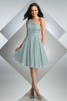 One Shoulder Empire Waist Pleated Tea Length Chiffon Green Bridesmaid Dresses BD0801